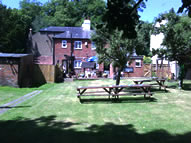 view from the bottom of the garden towards the back of the pub